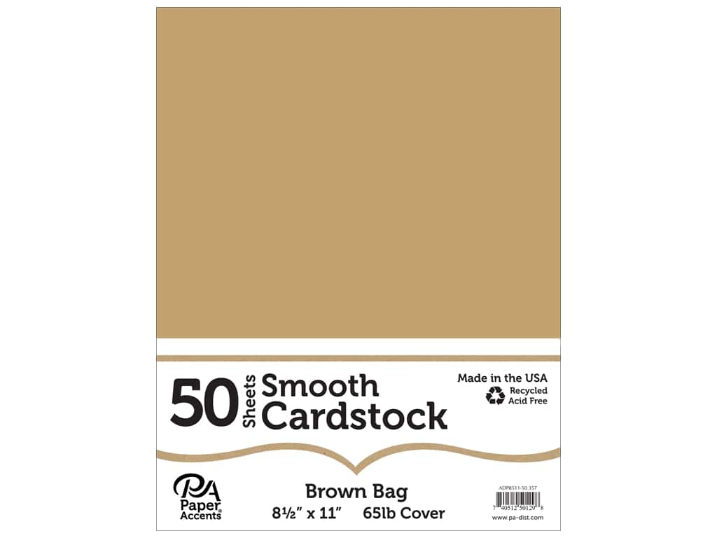 Paper Accents Cardstock 8 1/2 x 11 in. Smooth Brown Bag 50 pc.