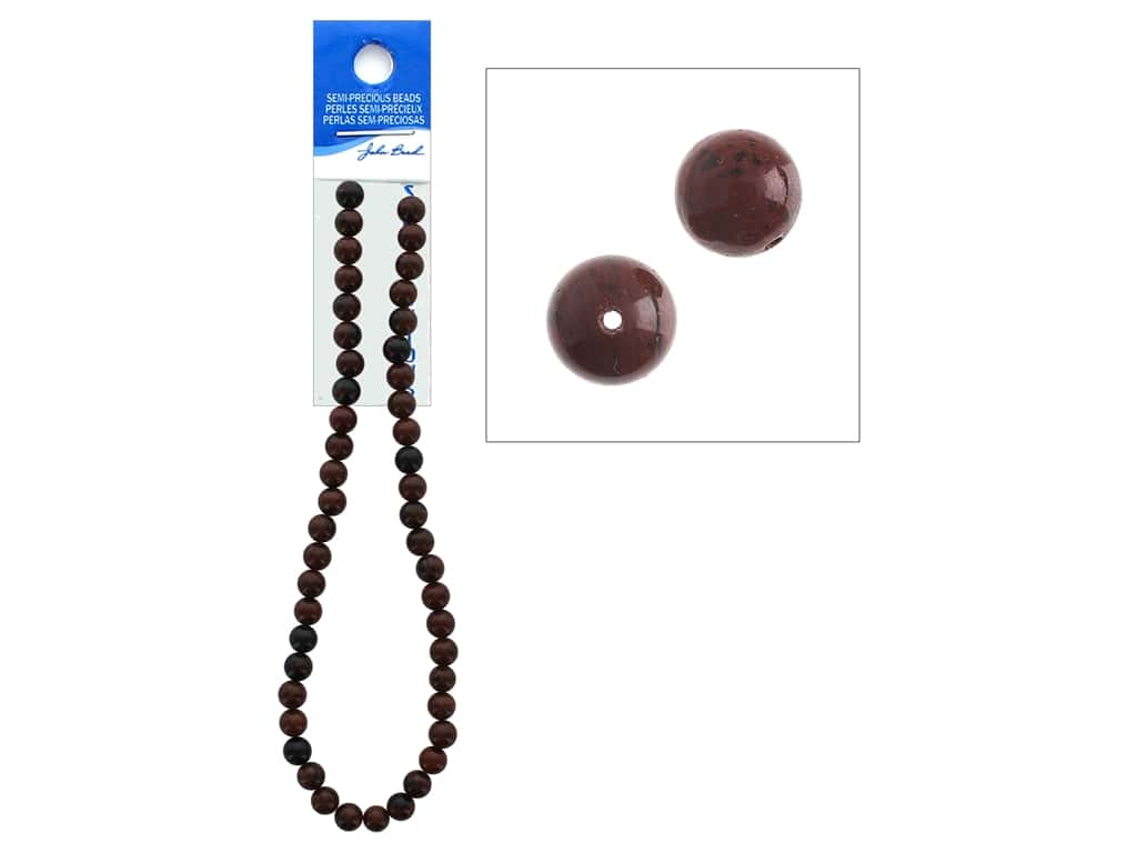 John Bead Semi-Precious 16 in. 8 mm Round Mahogany Jasper Natural