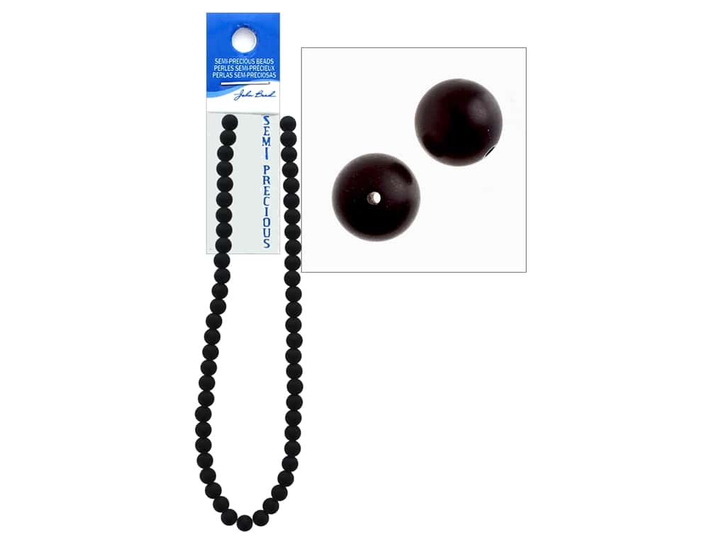 John Bead Semi Precious Bead 16 in. Stone 8 mm Round Dyed Matte Black
