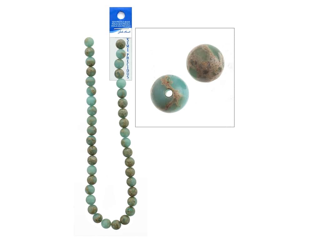 John Bead Semi Precious Bead 16 in. Jasper 10 mm Round Serpentine