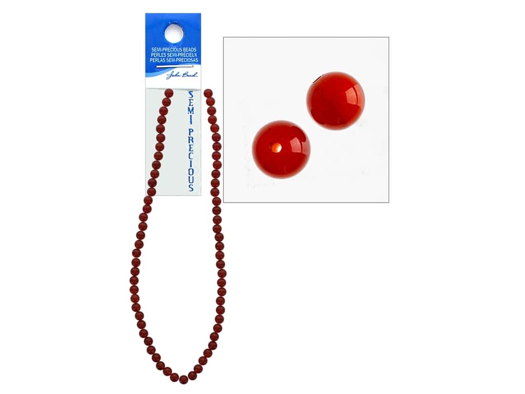 John Bead Semi-Precious 16 in. 6 mm Round Carnelian Natural Dyed