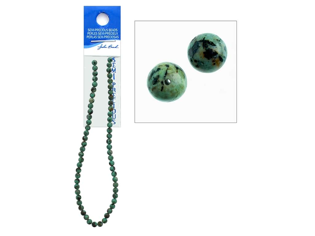 John Bead Semi-Precious 16 in. 6 mm Round African Turquoise Natural