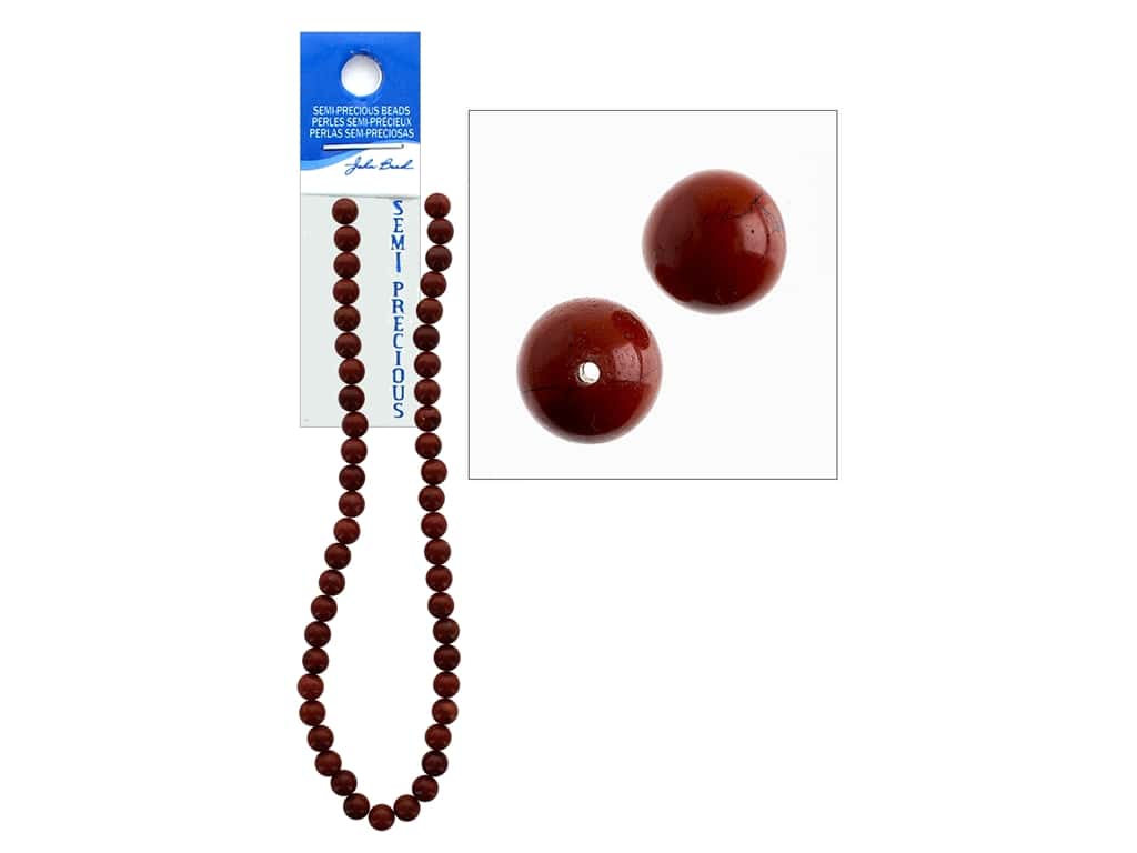 John Bead Semi-Precious 16 in. 8 mm Round Red Jasper Natural