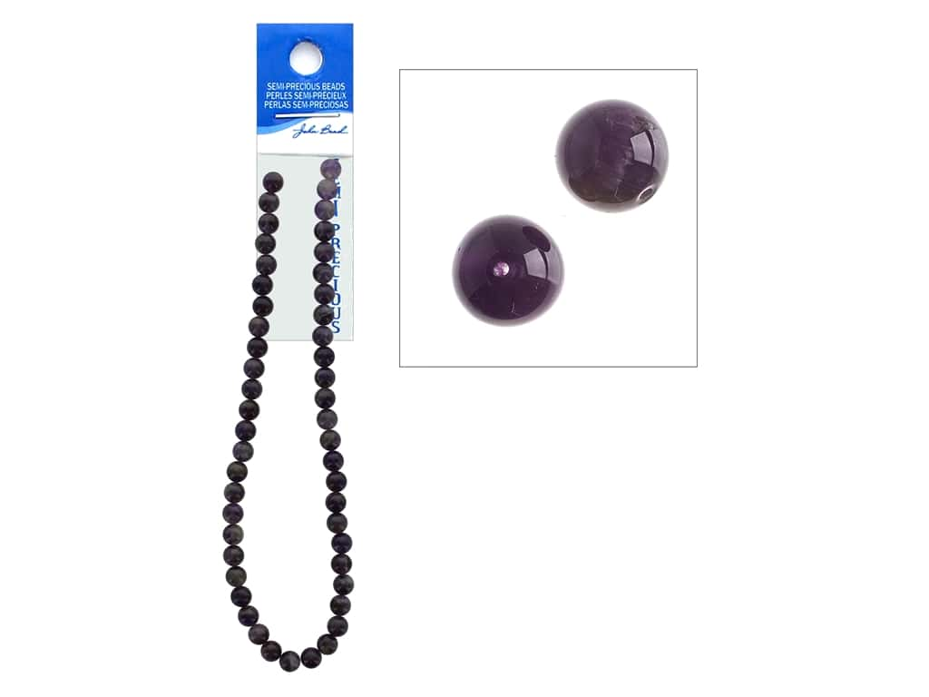 John Bead Semi Precious Bead 16 in. Amethyst 8 mm Round Dark