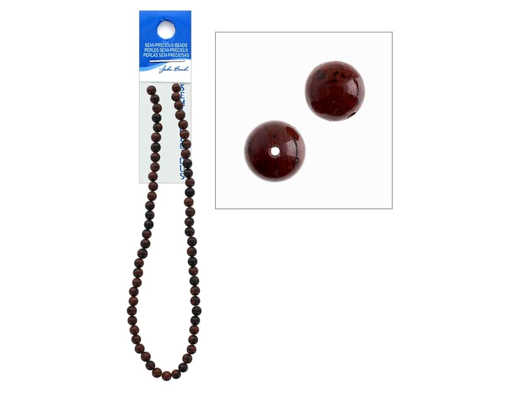 John Bead Semi-Precious 16 in. 6 mm Round Mahogany Jasper Natural