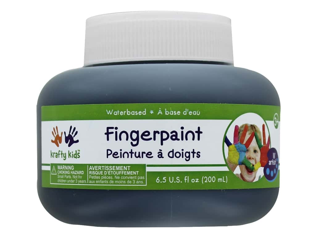 Multicraft Krafty Kids Finger Paint Jar 6.5 oz Black