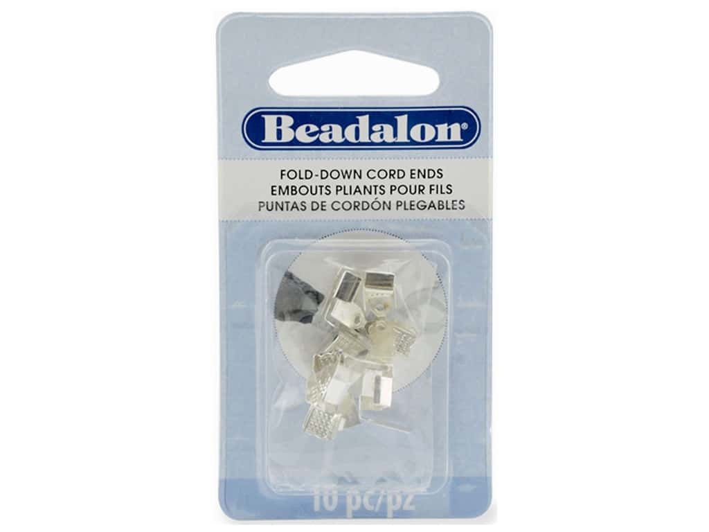 Beadalon Cord Ends Fold Down 4.8 mm Silver Plated 10 pc