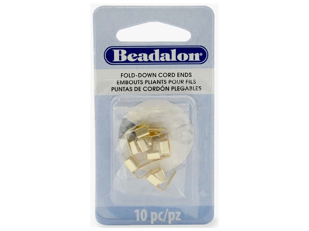 Beadalon Cord Ends Fold Over 4.8 mm Gold Color 10pc