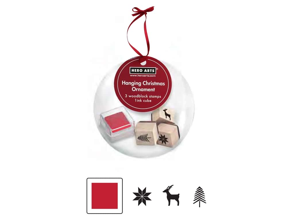 Hero Arts Rubber Stamp Set Hanging Ornament Christmas