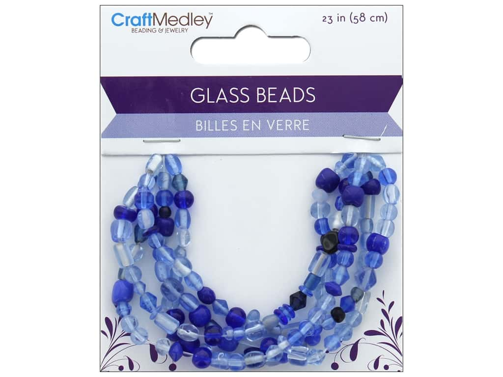 Multicraft Bead Glass Mix 5 Strand Royal Blue