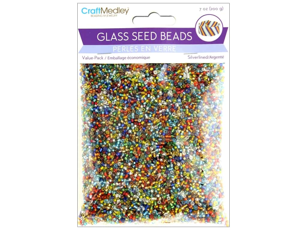 Multicraft Bead Glass Seed Value Pack 7 oz Silverlined