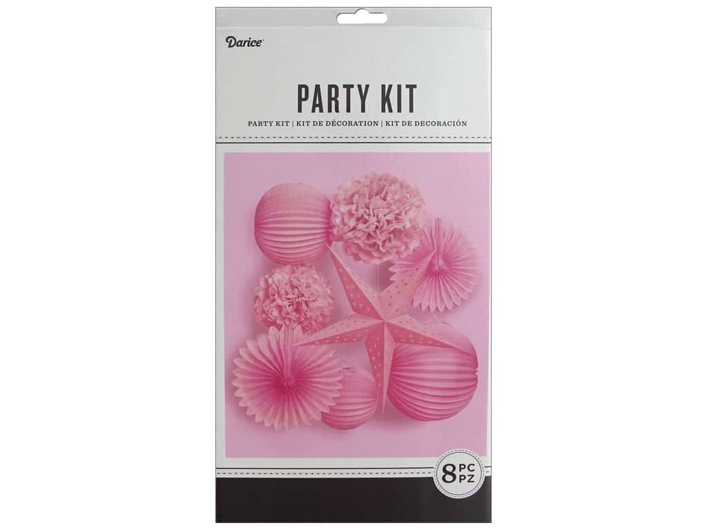 Darice Paper Party Decorations Kit 8 pc. Pink