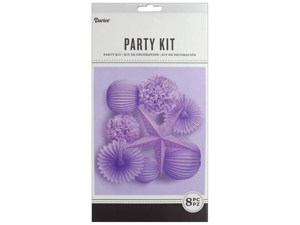 Darice Paper Party Decorations Kit 8 pc. Lavender
