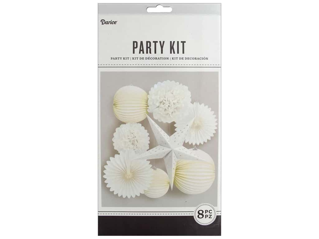 Darice Paper Party Decorations Kit 8 pc. White