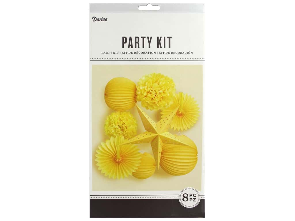 Darice Paper Party Decorations Kit 8 pc. Yellow
