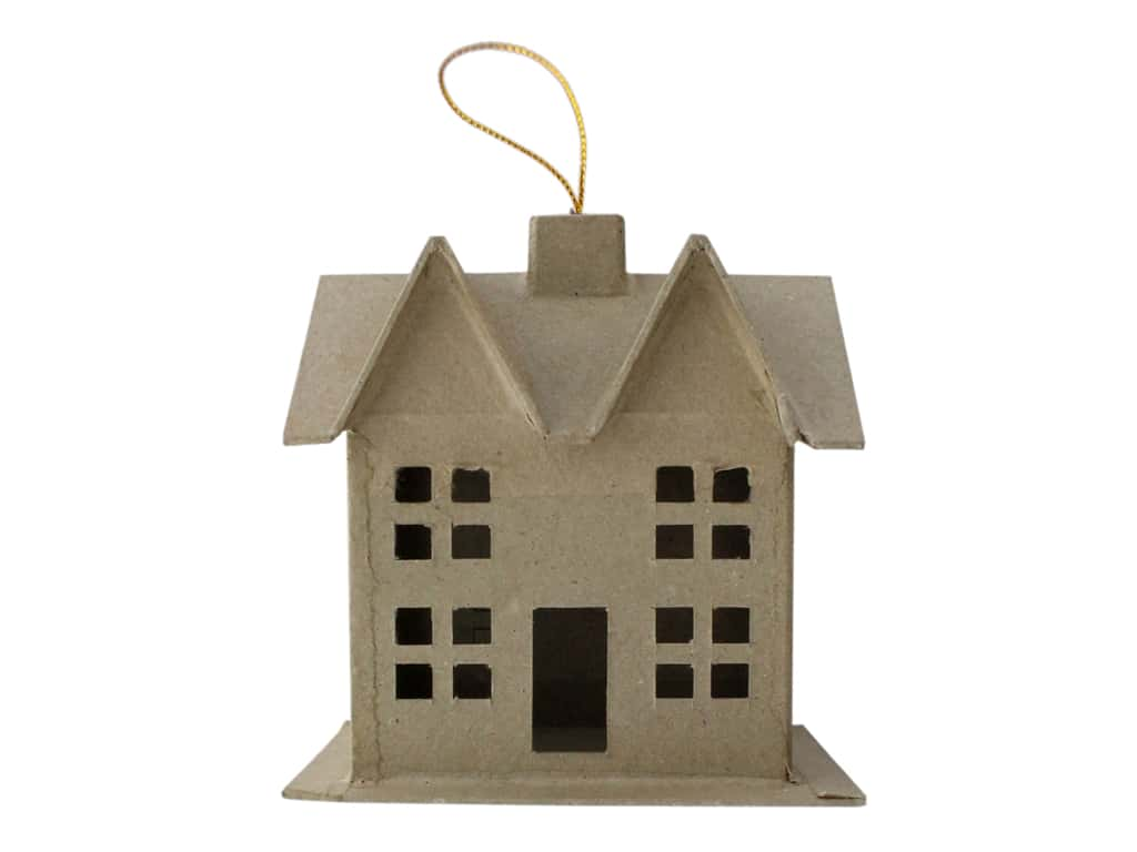 PA Paper Mache Ornament 3D House Small With String A