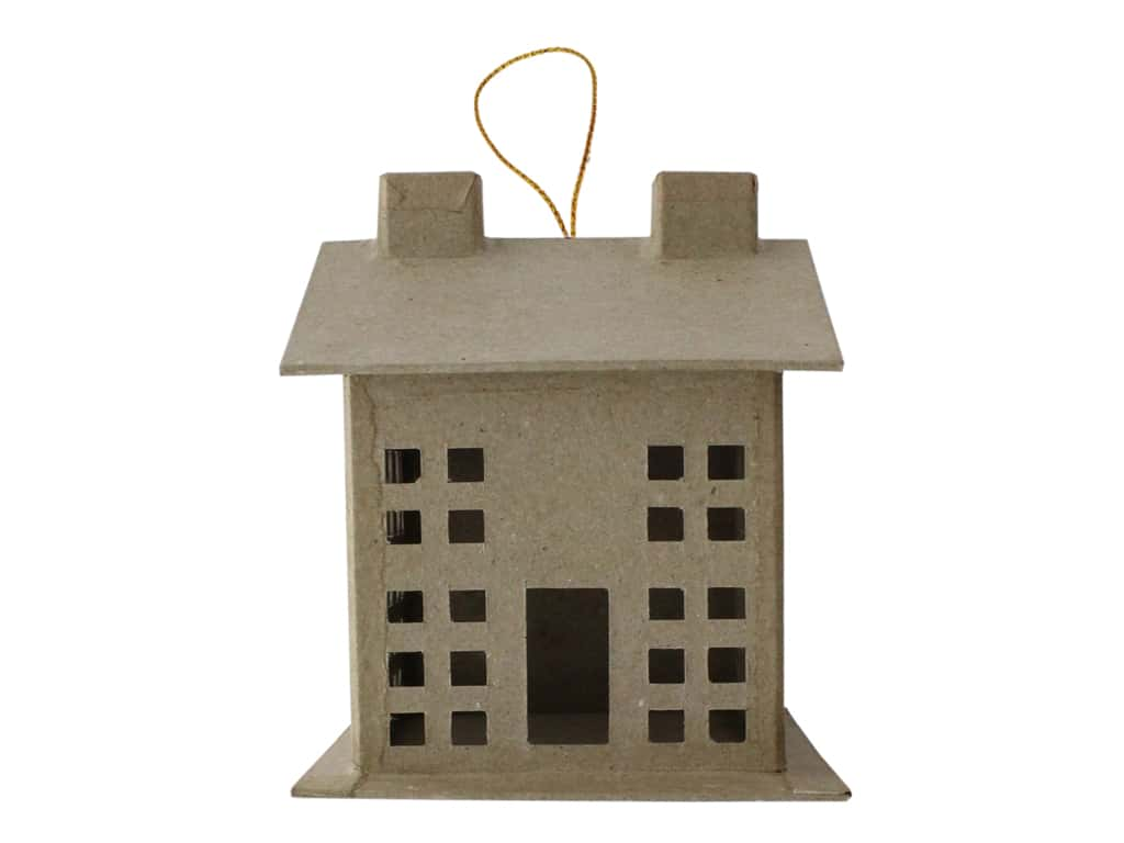 PA Paper Mache Ornament 3D House Small With String B