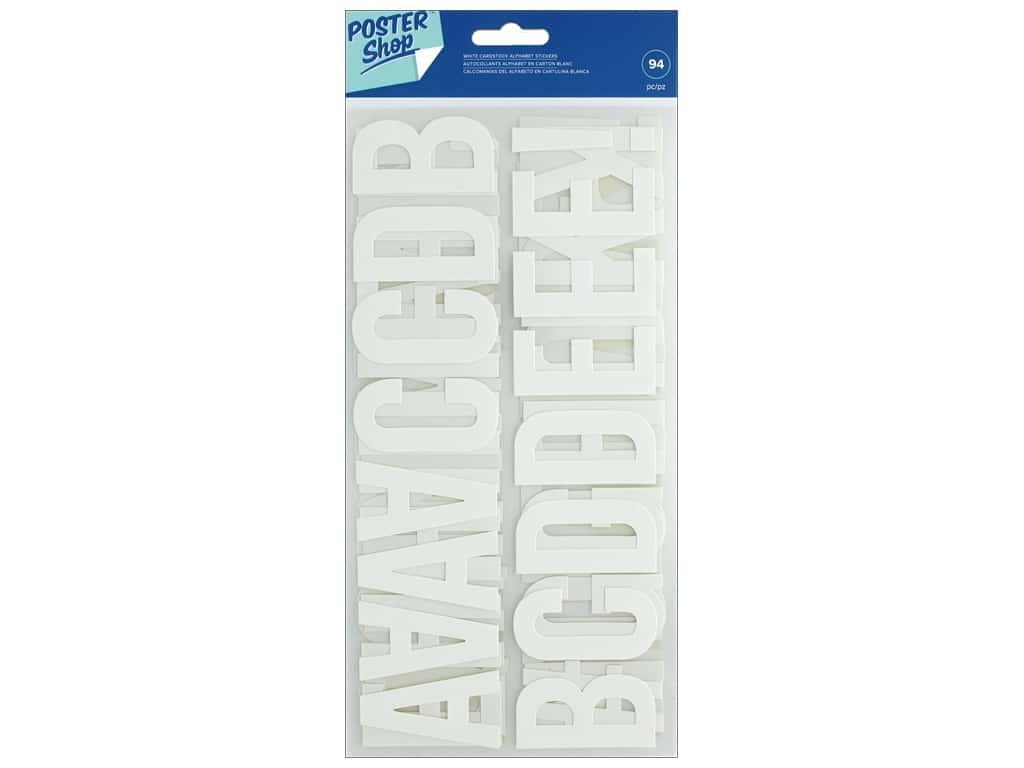 American Crafts Poster Shop Alphabet Stickers 2 1/4 in. White
