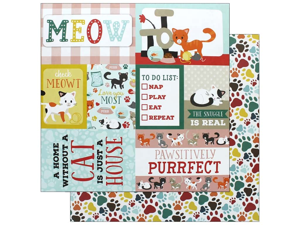 Echo Park Collection Cat Paper 12 in. x 12 in. Journaling Cards (15 pieces)