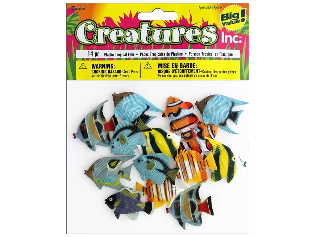 Darice Kids Plastic Creatures 2 in. Tropical Fish 14 pc