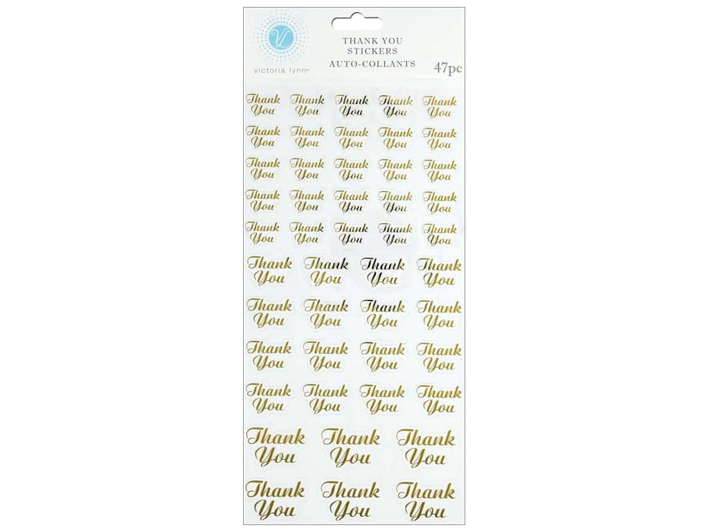Darice Sticker Thank You Gold/Clear 47 pc
