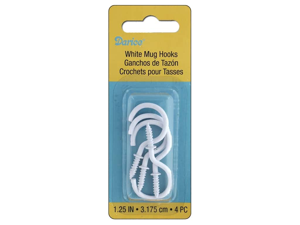 Darice Hardware Mughook 1.25 in.  10 lb White 4 pc
