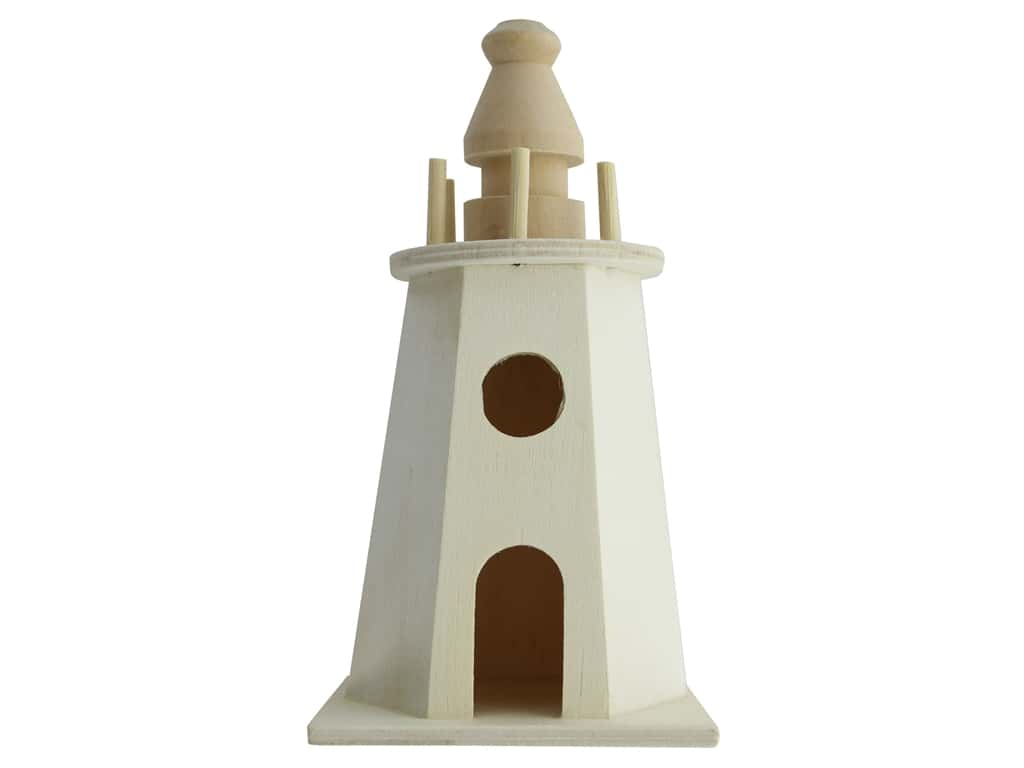 Darice Wood Lighthouse Birdhouse Unfinished 3.2 in. x 3.2 in. x 6.5 in.
