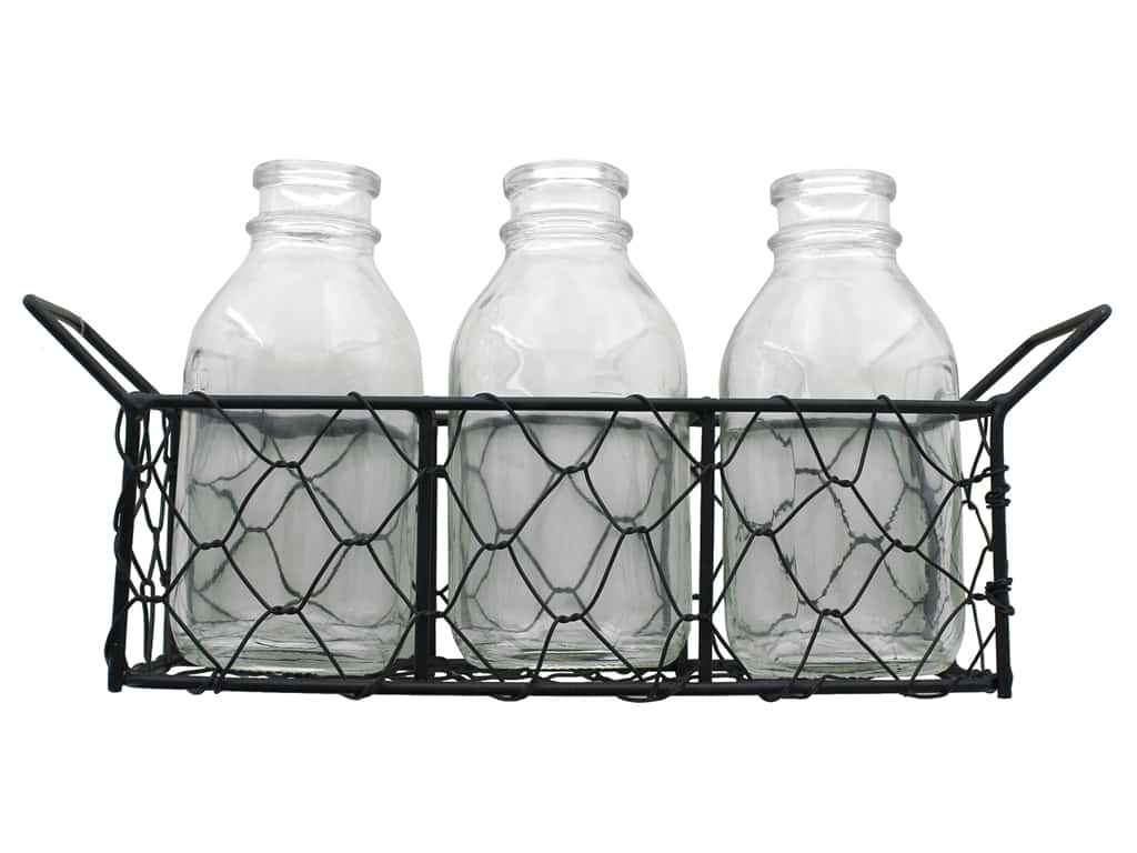 Darice 3 Glass Vases With Metal Stand
