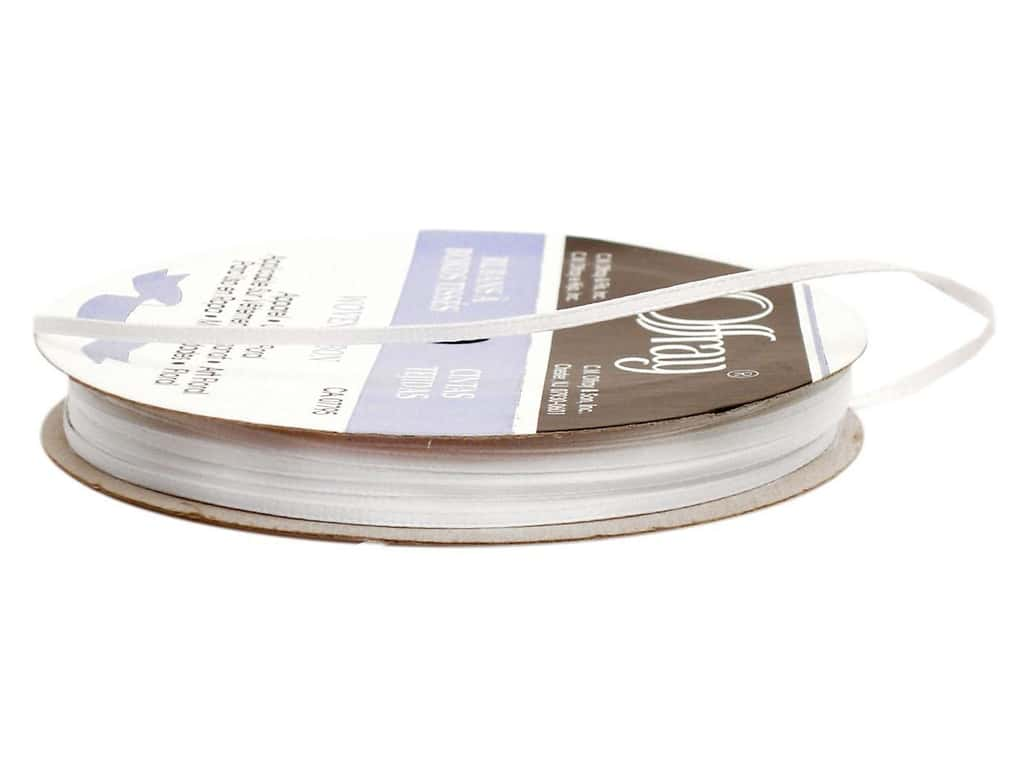 Offray Double Face Satin Ribbon 1/16 in. x 50 yd. White (50 yards)
