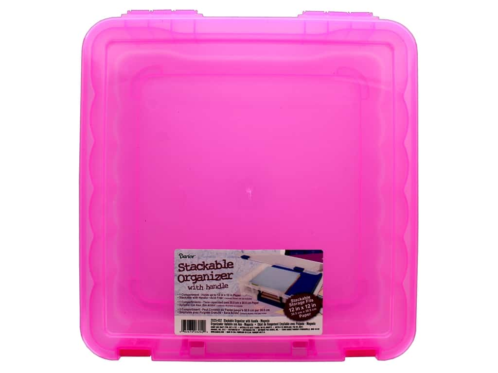 Darice Organizer Box Stackable With Handle 14 in. x 14 in. Magenta