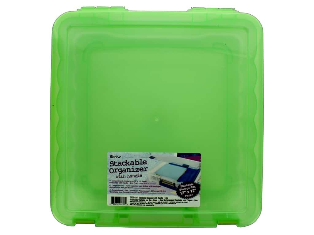 Darice Organizer Box Stackable With Handle 14 in. x 14 in. Lime