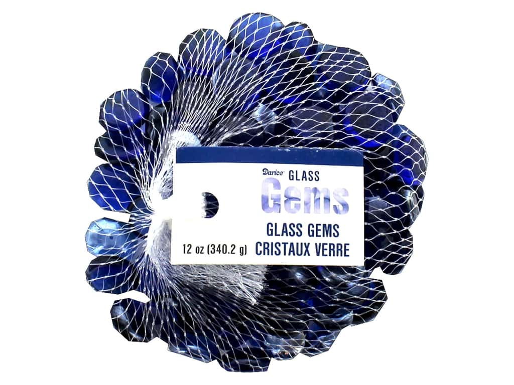 Darice Floral Glass Gems 12 oz Cobalt Blue