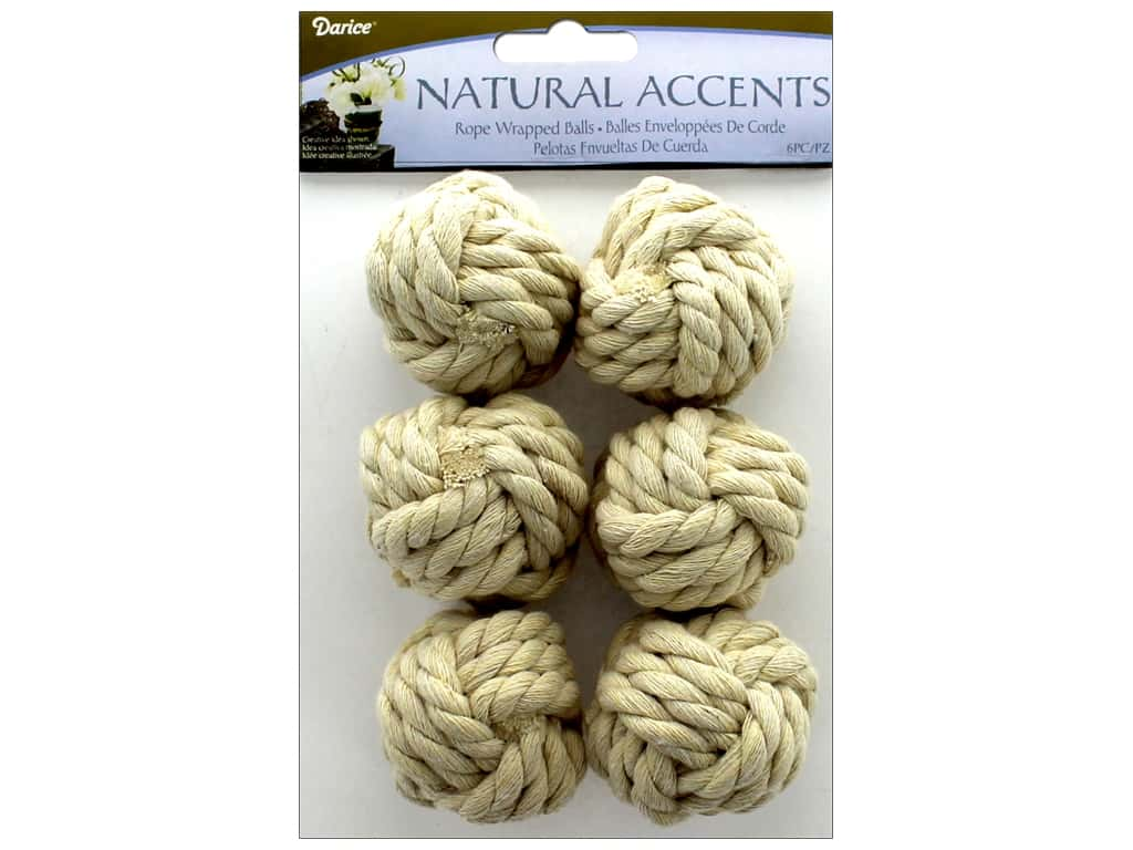Darice Floral Rope Wrapped Ball White 6 pc