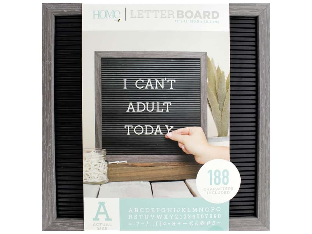 DieCuts With A View Letterboard Frame 12 in. x 12 in. With 1 in. Letters Gray/Black