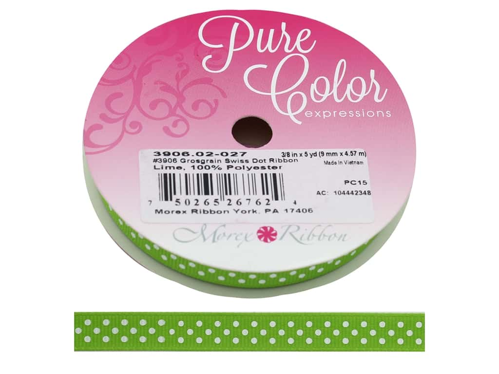 Morex Ribbon Grosgrain Swiss Dot 3/8 in. x 5 yd Lime/White