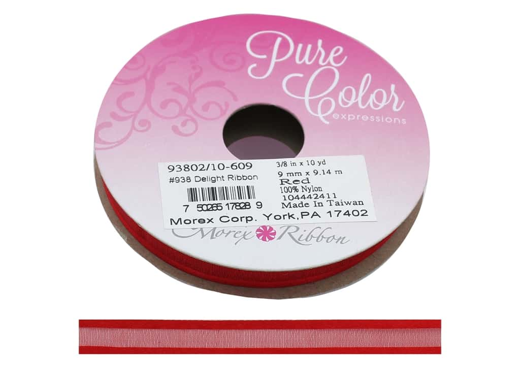 Morex Ribbon Delight 3/8  in. x 10 yd Red