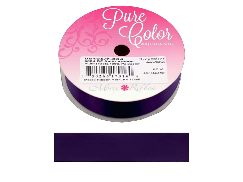 Morex Ribbon Double Faced Satin 7/8 in. x 7 yd Plum