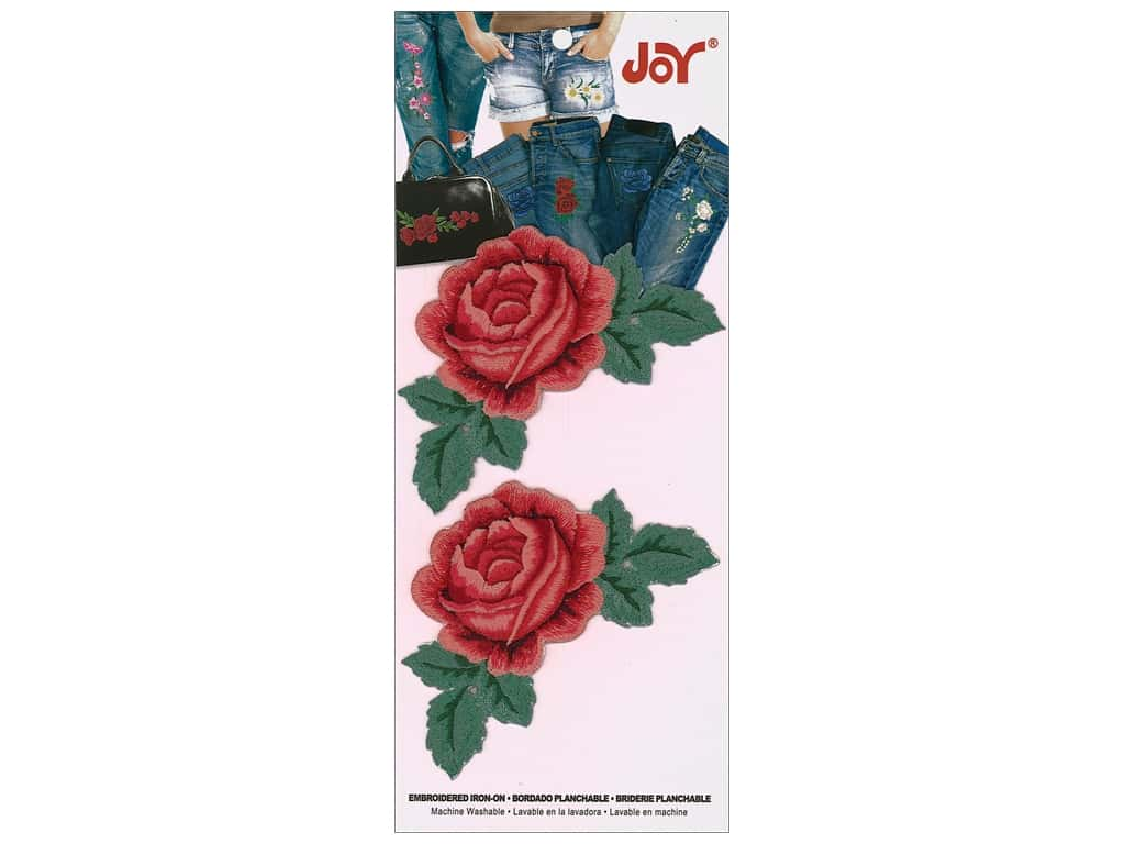 Joy Applique Iron On Small Rose With Leaves Red 2 pc