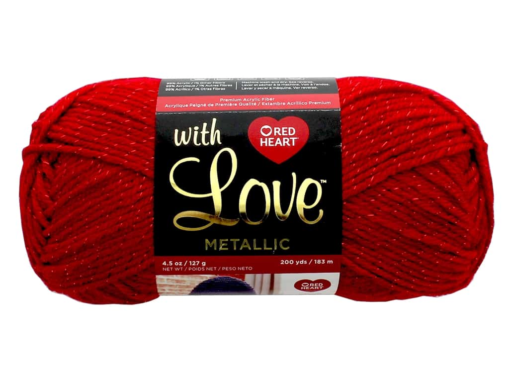 Red Heart With Love Metallic Yarn 200 yd. #8918 Red