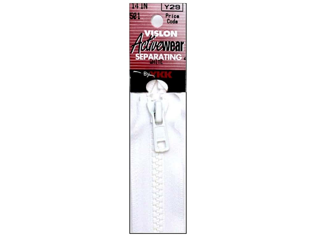 YKK Vislon Separating Zipper 14 in. White