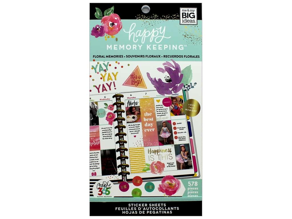 Me&My Big Ideas Collection Create 365 Happy Memory Keeping Sticker Value Pack Big Floral Memories
