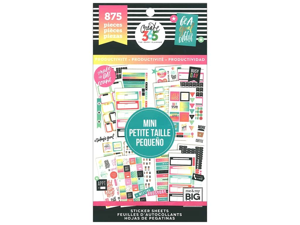 Me&My Big Ideas Happy Planner Sticker Value Pack Mini Productivity