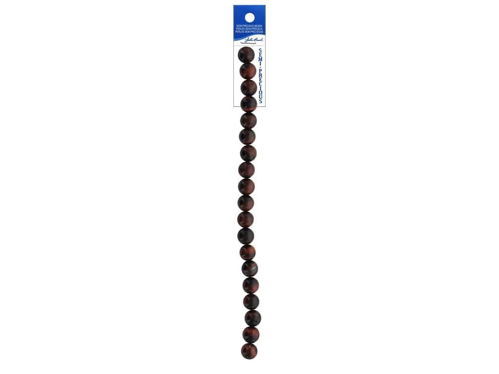 John Bead Semi Precious 7 in.Tiger Eye Natural 10 mm Round Dyed Red