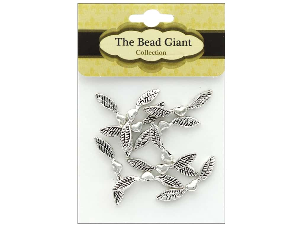 The Bead Giant Angel Wing-Heart 25 mm 10 pc Silver
