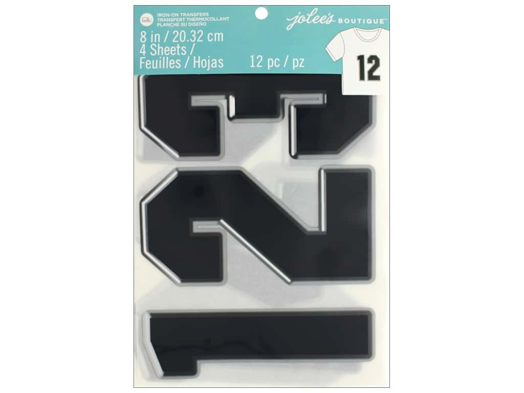 EK Jolee's Boutique Iron On Transfer 8 in. Number Black