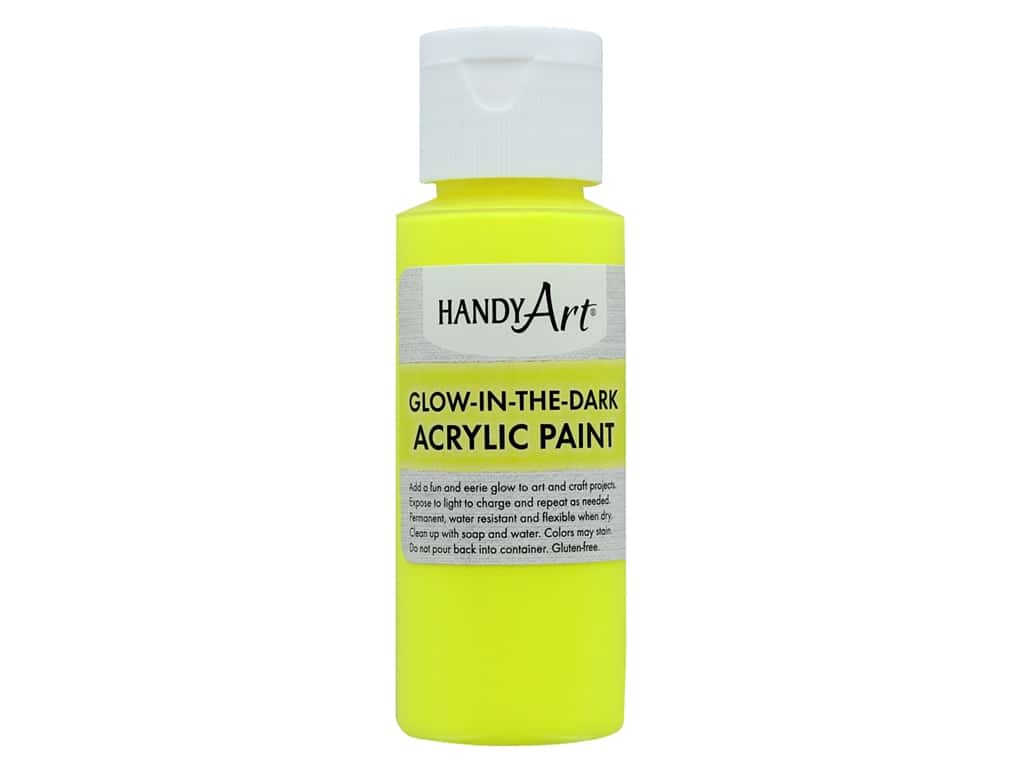Handy Art Acrylic Paint Glow In The Dark 2 oz Yellow