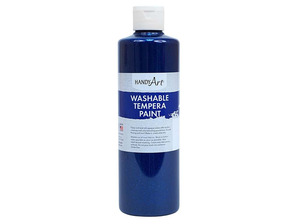 Handy Art Washable Tempera Paint 16 oz. Glitter Blue