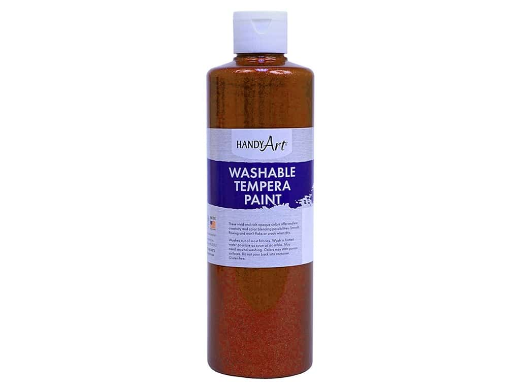 Handy Art Washable Tempera Paint 8 oz. Glitter Orange