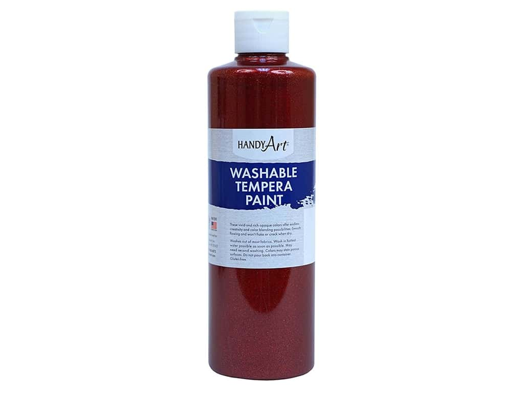Handy Art Washable Tempera Paint 8 oz. Glitter Red