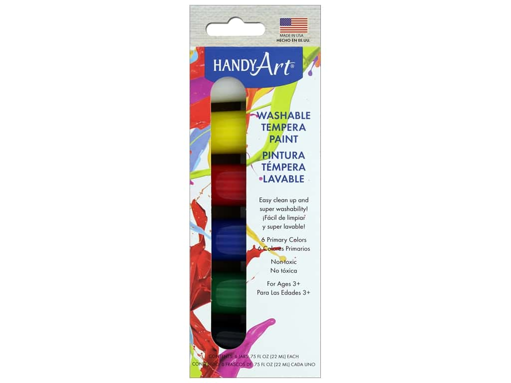 Handy Art Washable Tempera Paint Jar Set 6 pc. Primary